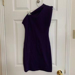 purple one-sleeve minidress